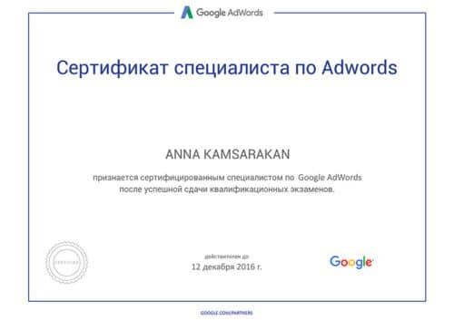 Сертификат специалиста Google Adwords Анна Камсаракан 2015